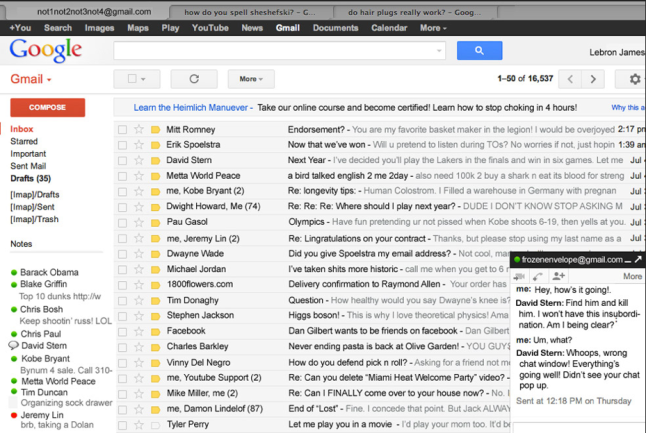 lebron james' email
